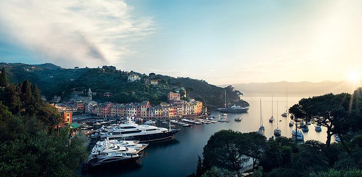 Portofino, Italy, Sunrise Panorama