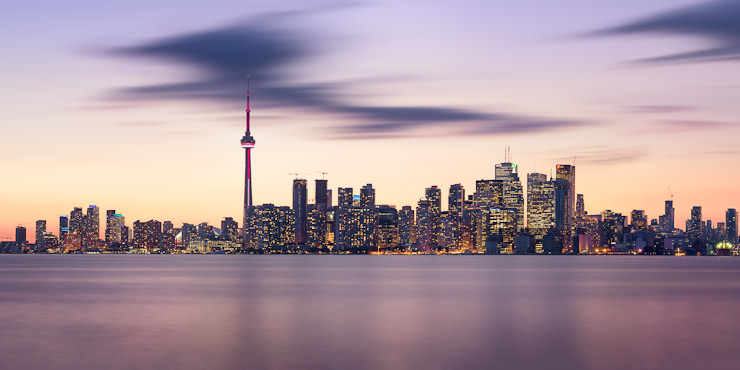Toronto Skyline, Long Exposure Panorama